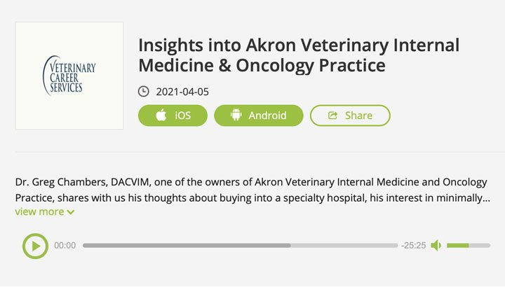 """Dr. Chambers podcast """"Insights into Akron Veterinary Internal Medicine & Oncology Practice"""